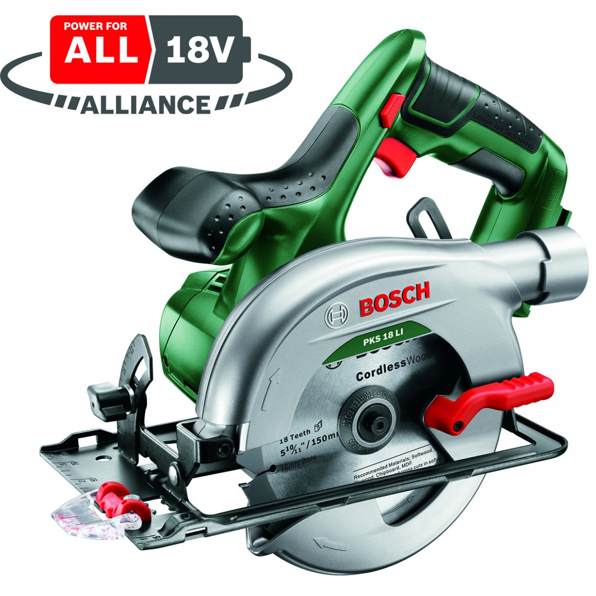 bosch green pks 18 li body 18v circular saw 150mm blade howe tools uk. Black Bedroom Furniture Sets. Home Design Ideas